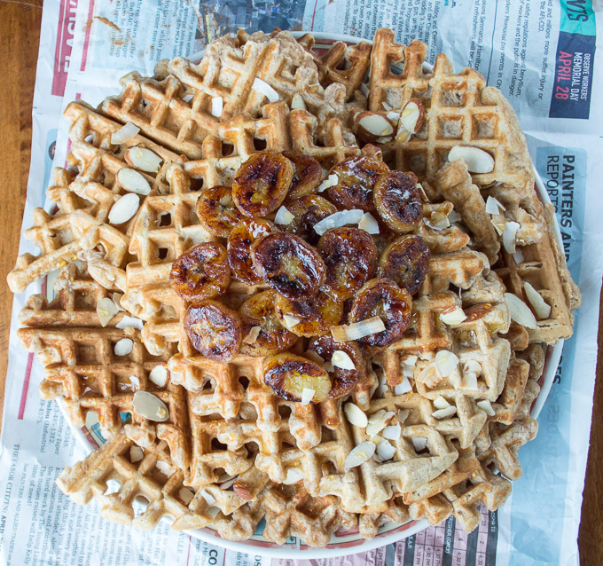 bird eye view of bananas foster waffles
