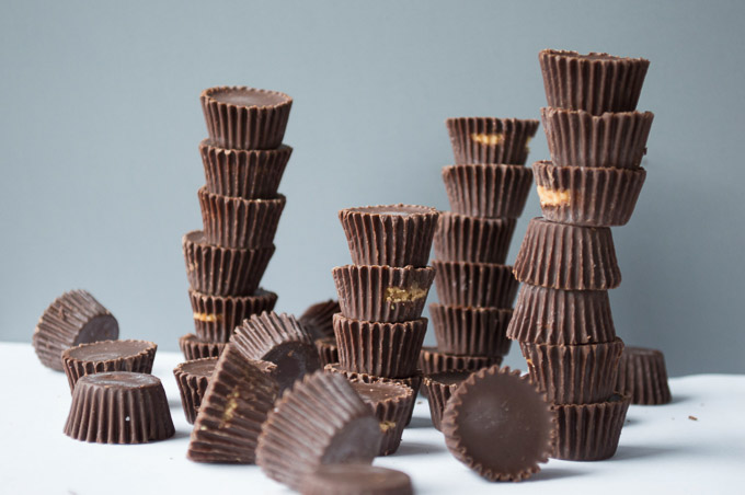 tower of chocolate peanut butter cups