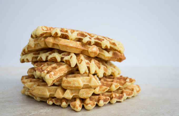 stack of cornbread waffles
