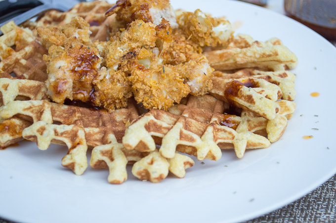 chicken, cauliflower and rosemary waffles with hot sauce