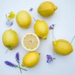 lemons and purple flowers