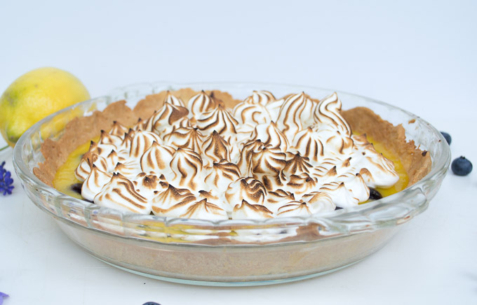lemon meringue tart with lemons