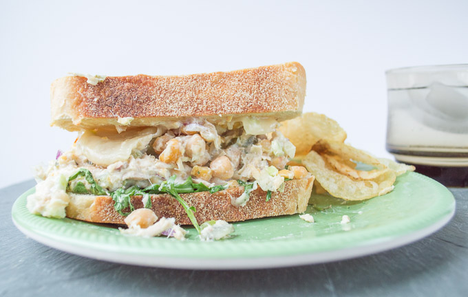 chickpea tuna melt with chips