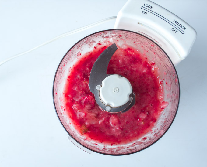 pureed strawberries in food processor