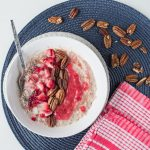strawberry and cream oatmeal with pecans
