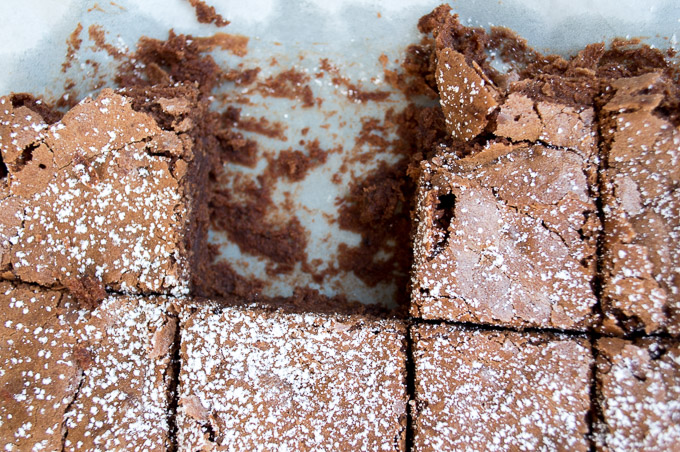 Cut brownies with one missing