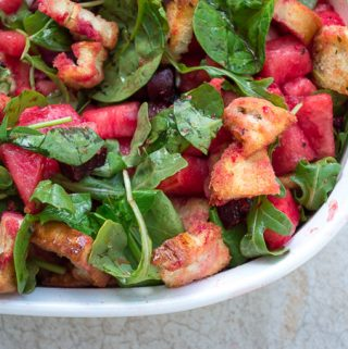 close up of beet panzanella salad