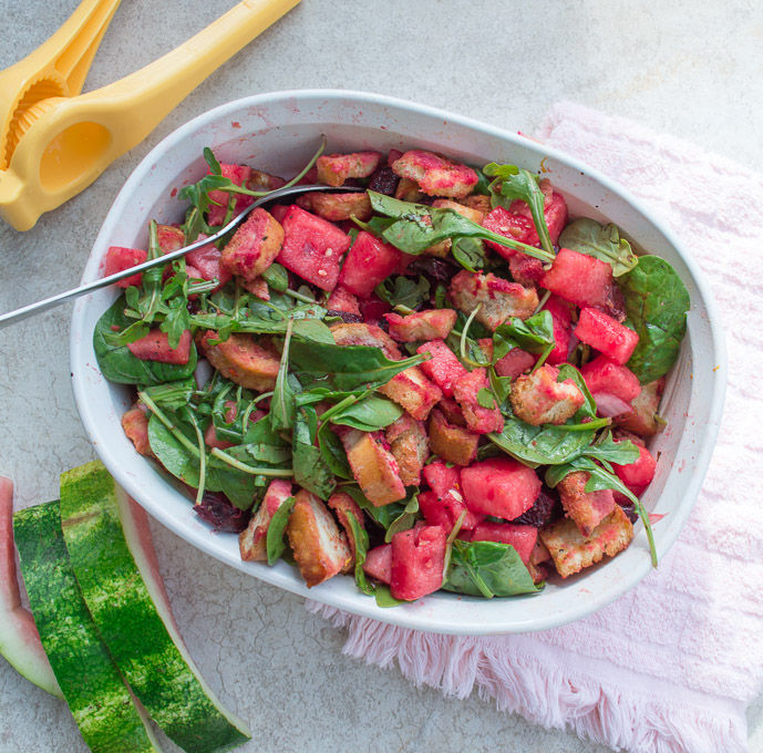 beet and watermelon panzanella salad