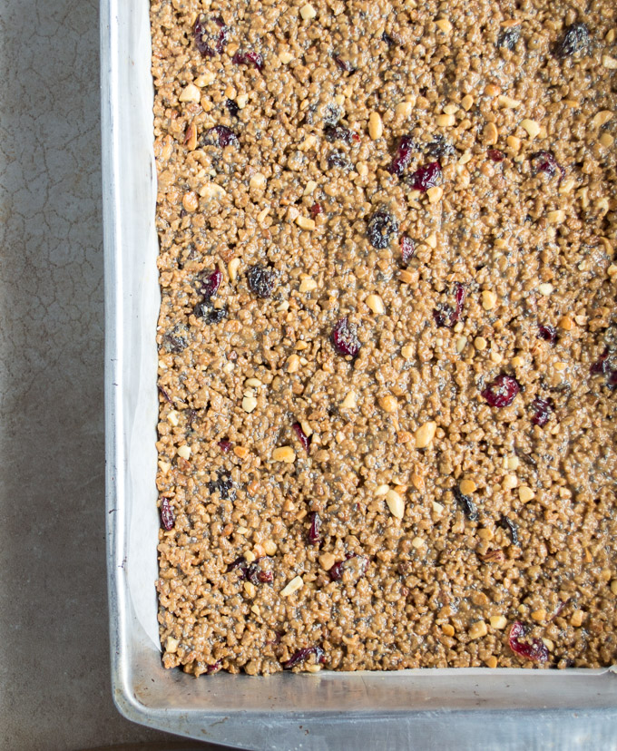 pan of granola bars
