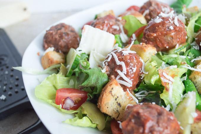 close up of meatball salad