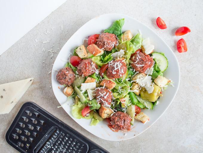 top view of meatballs salad