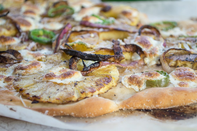 pineapple pizza with onions and jalapenos