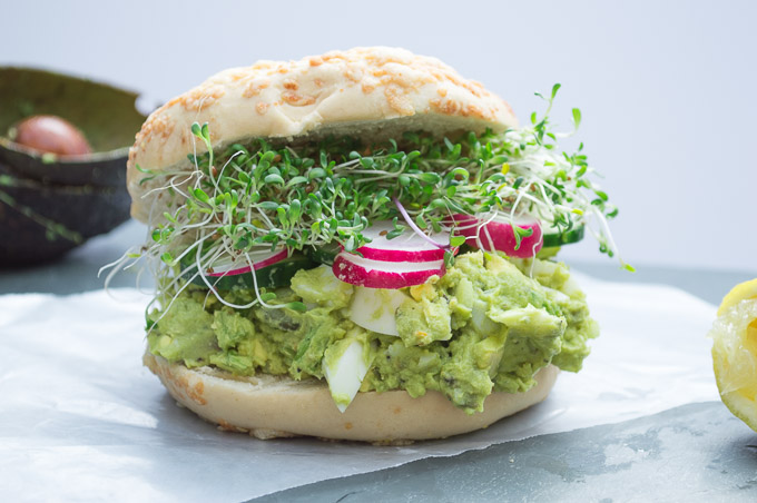 assembled avocado egg salad sandwich