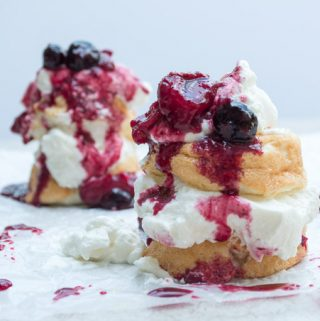 angel cakes with dripping roasted berries