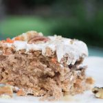 sliced carrot sheet cake with cream cheese frosting