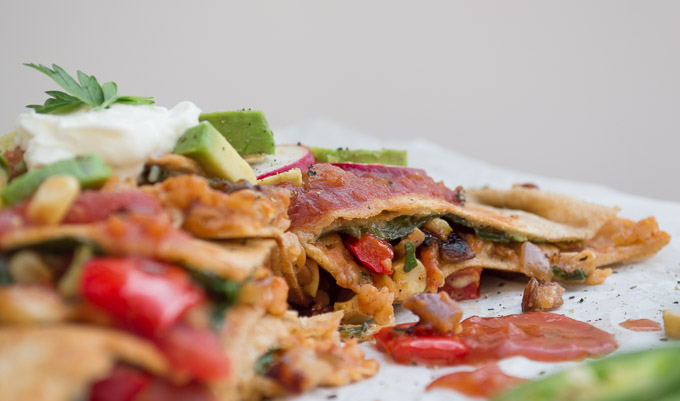 side view of vegetable quesadillas