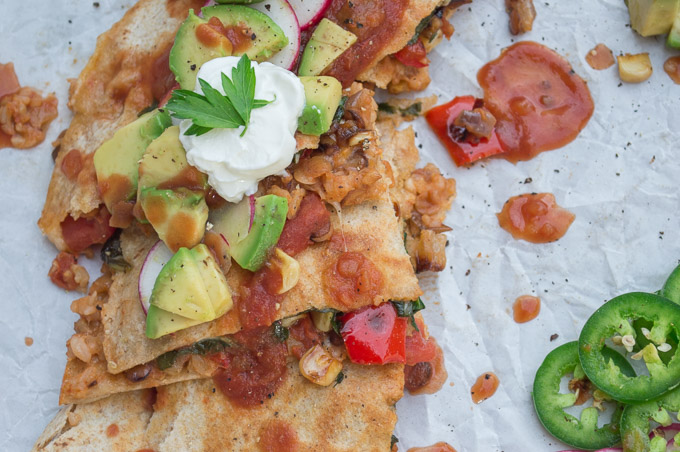 sliced lentil and rice quesadillas