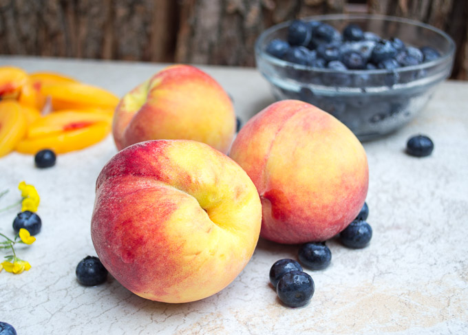 peaches, sliced peaches, blueberries