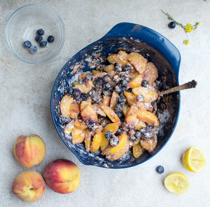 cinnamon marinated peaches and blueberries