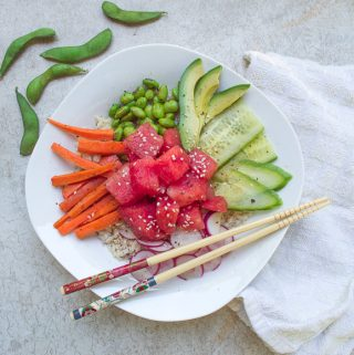 watermelon poke bowl with edamame