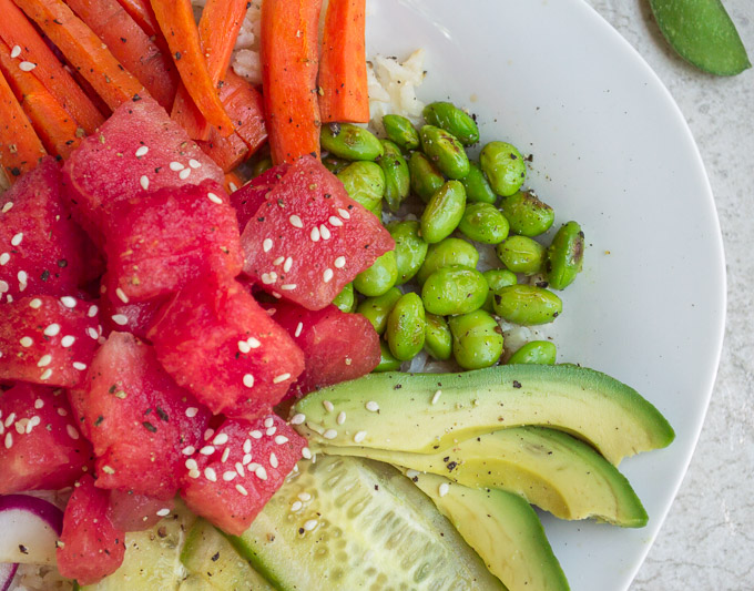 close up of watermelon poke bowls