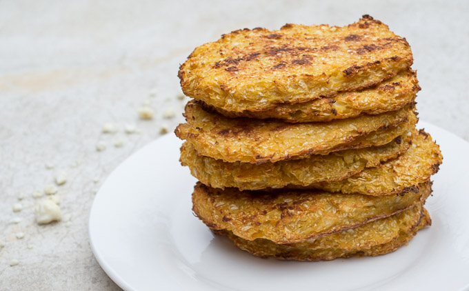 pile of baked cauliflower hash browns
