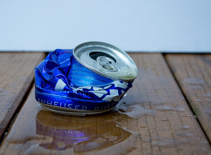 smashed beer can