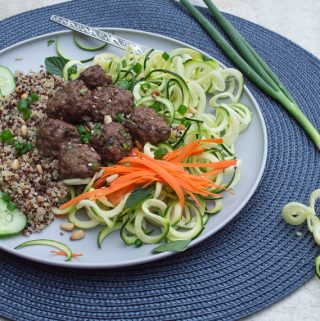 Lemongrass Meatballs & Spiraled Vegetable Noodles Bowl