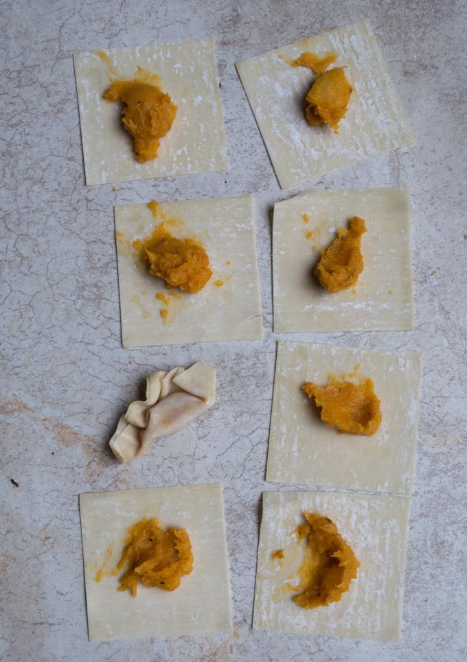 prepping butternut squash wontons