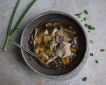 bowl of butternut squash wonton soip