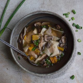 Roasted Butternut Squash Wonton & Caramelized Mushroom Soup