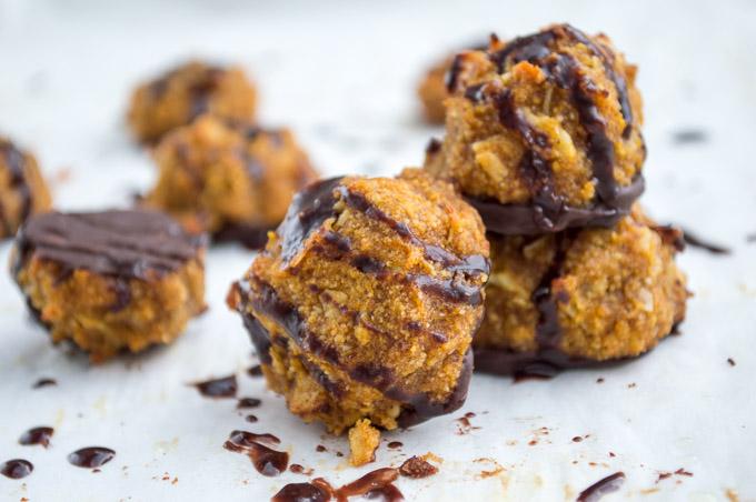 pumpkin macaroons dipped in chocolate