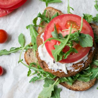 open-faced chickpea burger