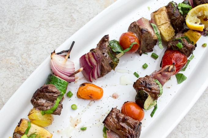 serving the beef & veggie kebabs