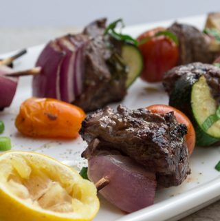 kebabs with lemon & basil sauce