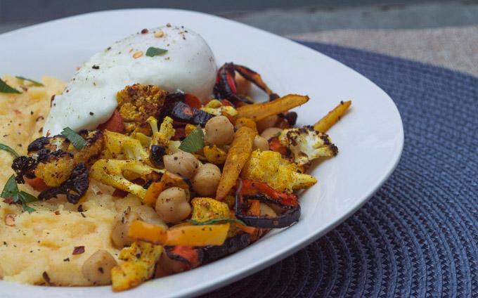 polenta, veggie, egg bowl