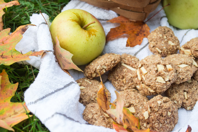 apple chai oatmeal cookies with fall leaves