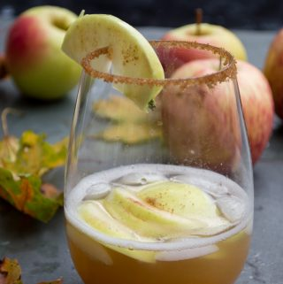 apple orchard drink with leaves and apples