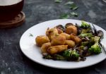 butternut squash gnocchi with mushrooms & broccoli