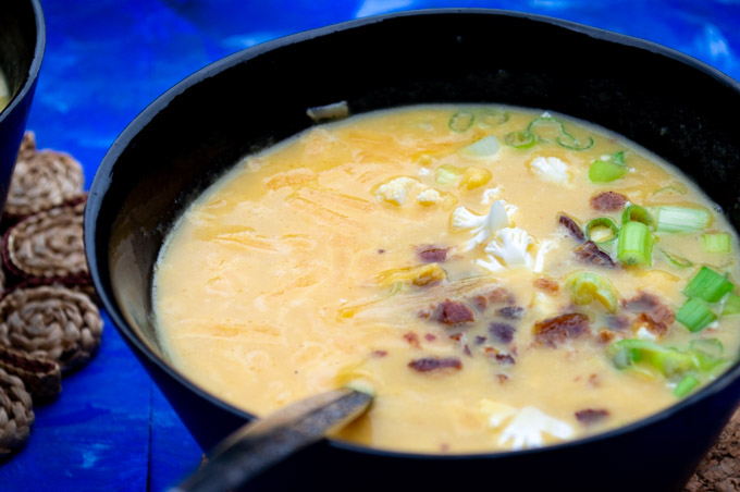 loaded cauliflower soup with toppings