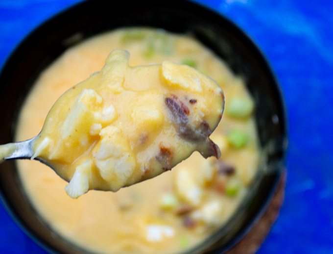 spoonful of loaded cauliflower soup