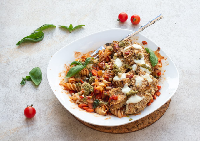 eggplant parm in a white bowl