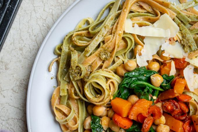 bird's eye view of fall harvest pasta