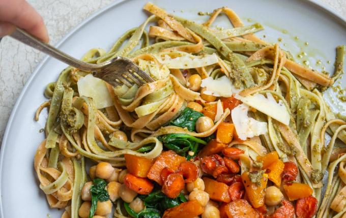 twirling fork around fall harvest pasta
