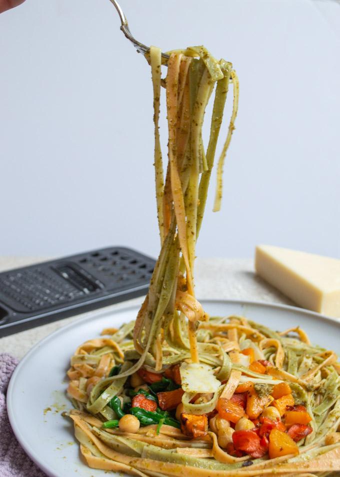 long strand of pasta eating fall harvest pasta