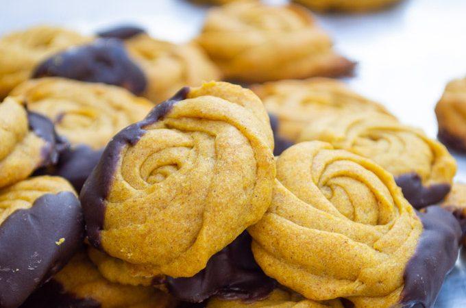 close up of pumpkin rosebud cookies