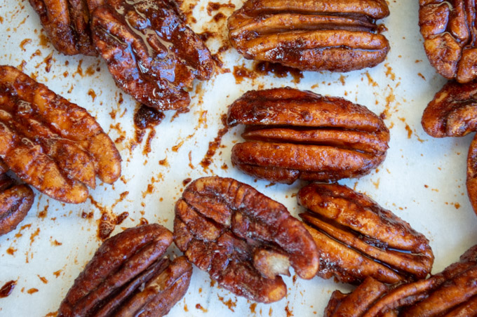 raw bourbon and cinnamon coated pecans