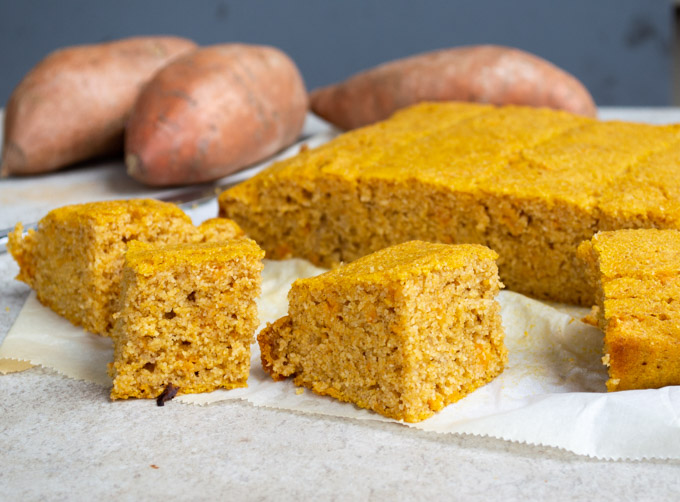 slices of yam cornbread