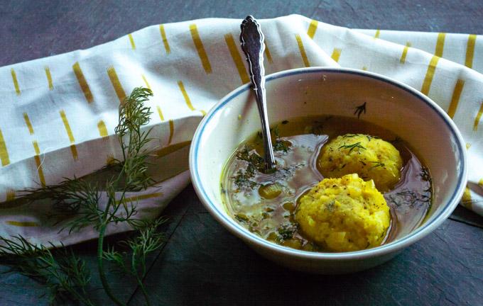 mini matzo ball soup with dill