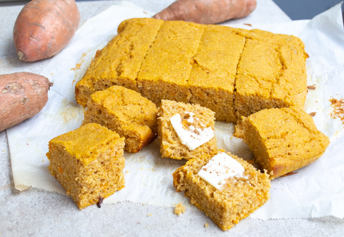 yam cornbread with butter and cinnamon